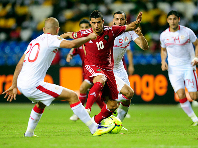 African Nations: Younes Belhanda of Morocco attacks against Aymen Abdennour of Tunisia