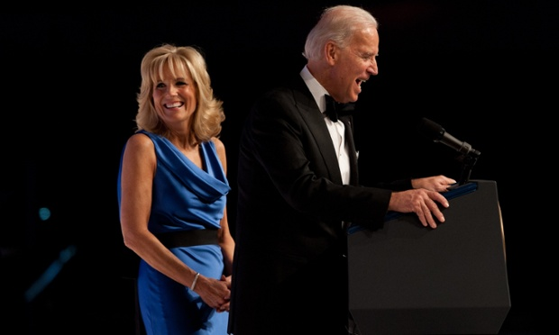 Joe Biden addresses the largely military audience at the Commander-in-Chief's Ball.