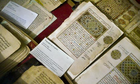 Preserved ancient Islamic manuscripts displayed at the Ahmed Baba Institute in Timbuktu, Mali