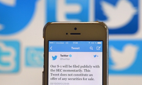 A Twitter tweet announcing the company's planned initial public offering.