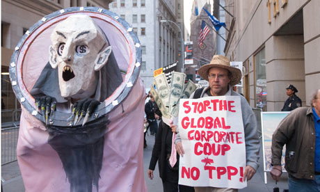 A protestor demonstrates agains the Trans-Pacific Partnership in New York City.