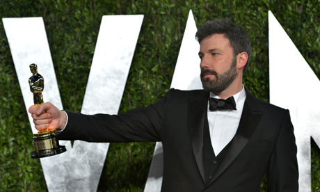 Ben Affleck with Oscar for Argo at Vanity Fair Oscar Party 2013