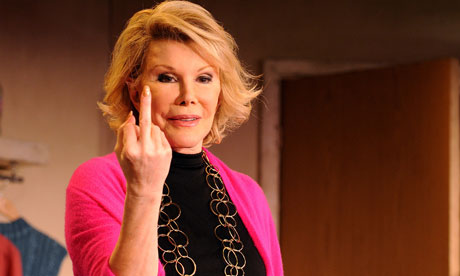 Joan Rivers flipping the bird