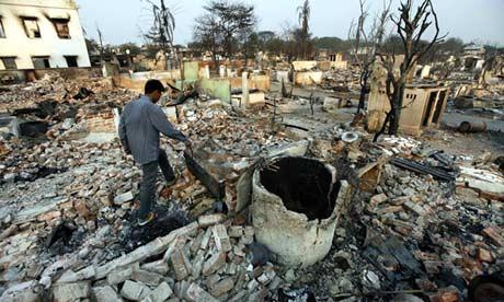 Destroyed buildings in Meikhtila, Burma