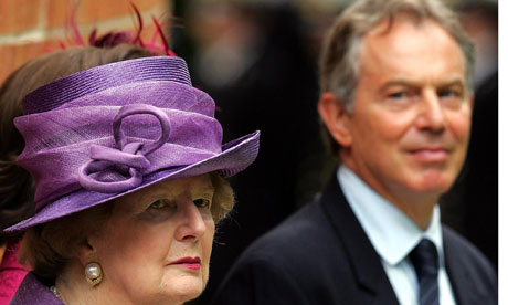 Margaret Thatcher and Tony Blair at Falklands memorial, 2007