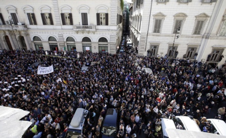 Activists of anti-establishment 5 Star Movement gather to stage a protest in Rome, Sunday, April 21, 2013.