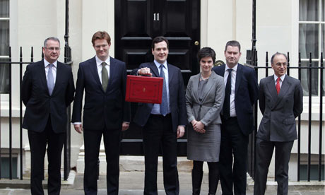George Osborne holding red briefcase