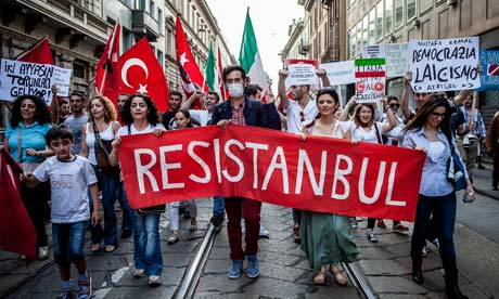 March in solidarity with Occupy Gezi Turkish protests in Milan