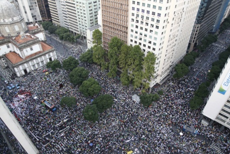 Huge crowds of demonstrators march in Rio de Janeiro, Brazil.