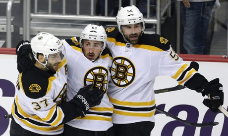 Boston Bruins' Brad Marchand, Patrice Bergeron and Johnny Boychuk vs Pittsburgh Penguins
