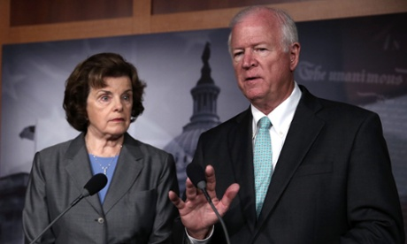 Senators Dianne Feinstein, chairman of the Senate intelligence committee, and Saxby Chambliss, the vice chairman, speak to reporters about the NSA cull of phone records.