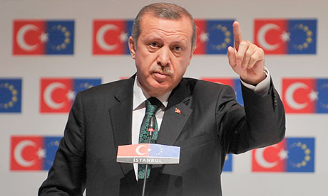 Turkey's prime minister, Recep Tayyip Erdogan, at the EU-Turkey conference in Istanbul