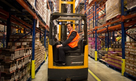 Chancellor of the Exchequer George Osborne at Tesco's National Distribution Centre near Rugby. The Chancellor met with staff at Warburtons Bakery as part of an evening watching how businesses operate through the night and how shift staff work.