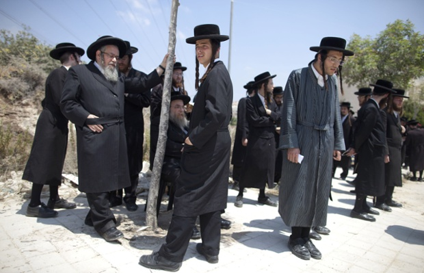 Beit Shemesh New Construction: Ultra-Orthodox Jewish Men Pray During A Demonstration In