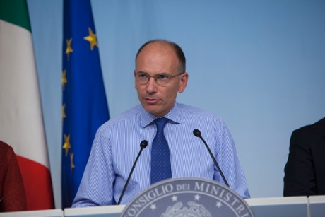 Prime Minister Enrico Letta attends press conference following the Council of Ministers approving certain packages on the Public Administration on August 26, 2013 in Rome, Italy