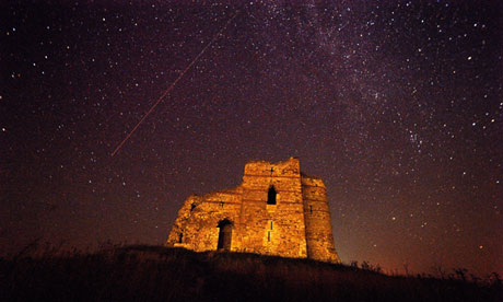 A Perseid meteor over a castle in Bulgaria