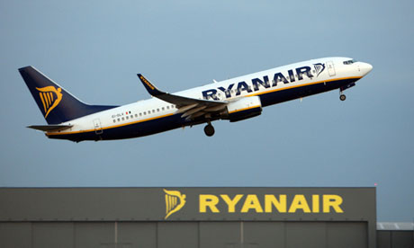 A Ryanair jet takes off from Stansted airport