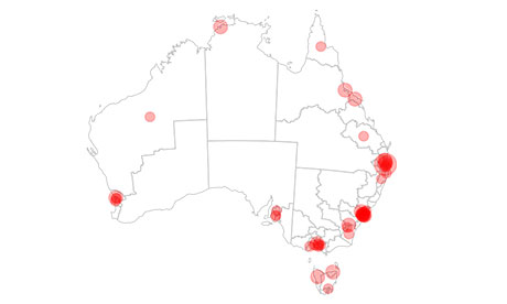 Map of Kevin Rudds's election campaign visits