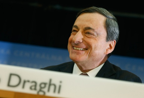 European Central Bank (ECB) President Mario Draghi smiles during the monthly ECB news conference in Frankfurt January 9, 2014.