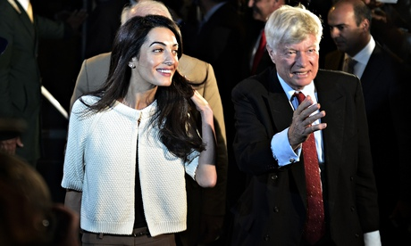 Amal Alamuddin Clooney (left) and Geoffrey Robertson arrive in Athens