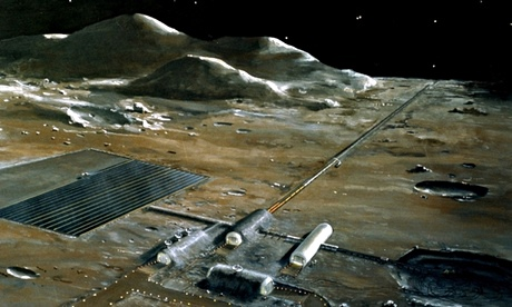 A lunar base, as imagined by Nasa in the 1970s