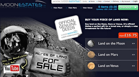 Screengrab of a website selling land on the moon