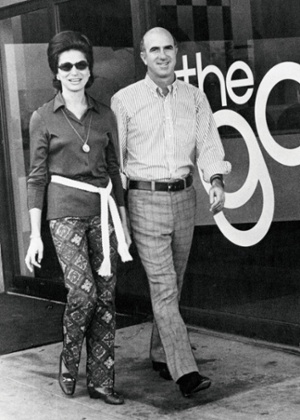 Doris and Don Fisher in front of the first Gap store in San Francisco, 1969