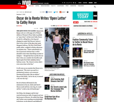 The open letter to Cathy Horyn on WWD