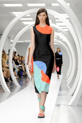 A model presents the colourful creations of Roksanda.