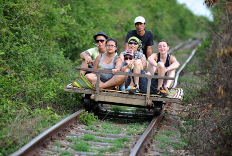 The 'bamboo train' ride at Battambang.