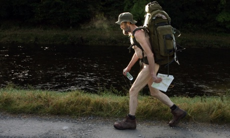 'The Naked Rambler' Stephen Gough sets off near Selkirk in the Scottish Borders on his way to England after his release from prison in Scotland.