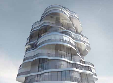The design for Moussavi's Les Jardin de la Lironde  residential complex in Montpellier, Paris.