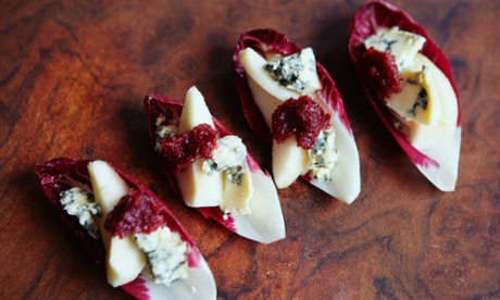 Umami in a canape ... Chicory boats with pear, stilton and cranberry jam.