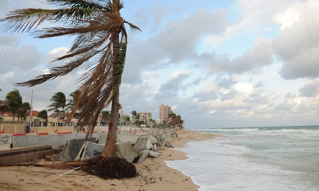 29 Nov 2012, Fort Lauderdale, Florida, USA --- Here is what's left of Fort Lauderdale Beach in Florida. What used to be a popular tourist destination for spring breakers and many others has now become a very small damaged beach and boardwalk seen here, due to beach erosion and the recent Hurricane Sandy. Pictured: Fort Lauderdale Beach