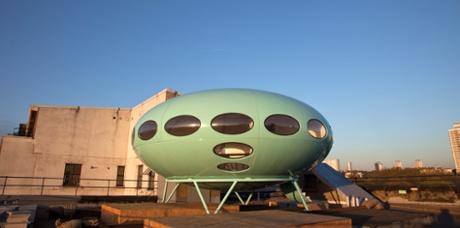 Futuro House, on top of Matt's Gallery.