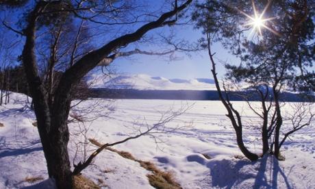 Winter sun over Loch Morlich, Cairngorms
