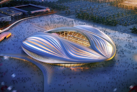 A computer generated image of Zaha Hadid's  Al-Wakrah stadium, to be built for the 2022 Qatar World Cup.