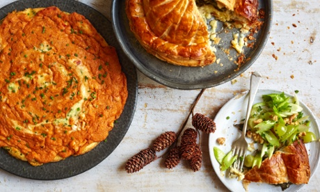 Whole baked Camembert pithivier with celery and walnut oil and a crab omelette with gruyere cheese - perfect for a Christmas starter or for Boxing Day leftovers.