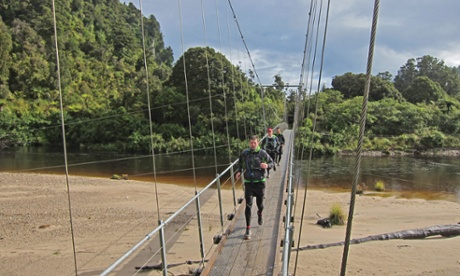 Pat Luke and Ben cross the Heaphy River Bridge