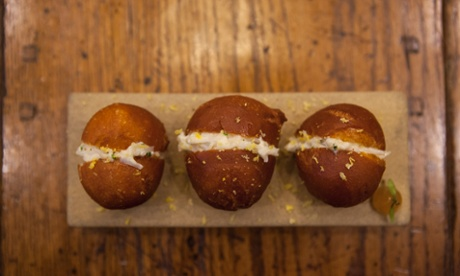 Three crab doughnuts at Adam Handling at Caxton