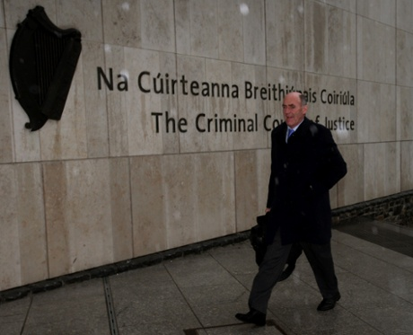 Michael Staines, the solicitor for Sean Fitzpatrick the former chairman of Anglo Irish Bank, arrives at the Circuit Criminal Court in Dublin where he faces charges of trying to inflate the share price of the now-defunct lender Anglo Irish Bank.