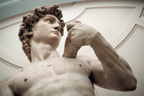 Michelangelo's David in the Galleria Dell'Accademia in Florence.
