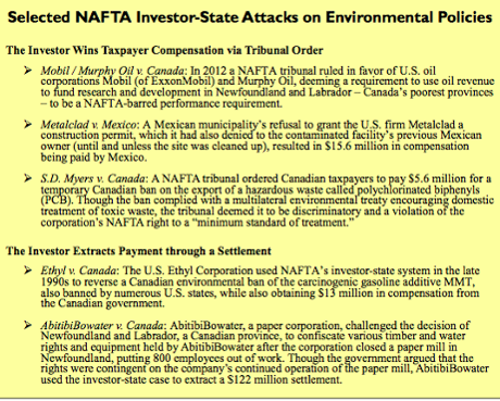 Table of foreign investor-state cases and claims under NAFTA and Other U.S. trade deals. Source: Public Citizen