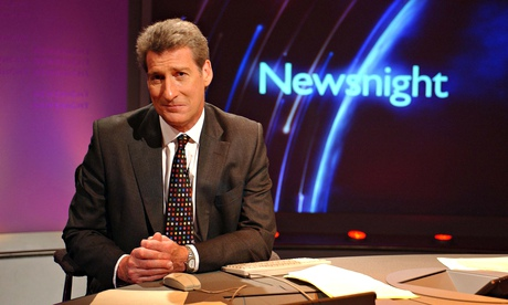 Newsnight set, with presenter Jeremy Paxman