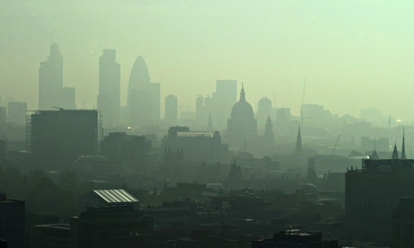 St. Paul's Cathedral and the city seen through smog in the morning