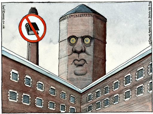 Steve Bell cartoon showing Grayling as a chimney and a sign banning books above a prison
