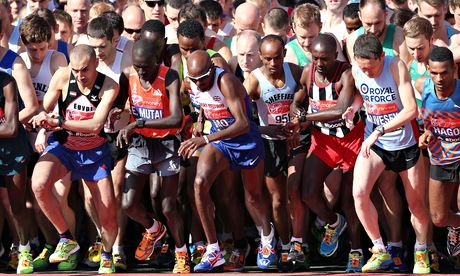 Mo Farah starts the London Marathon