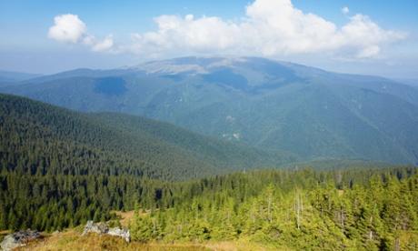 View of Muntele Mic in Tarcu Mountains, Romania.