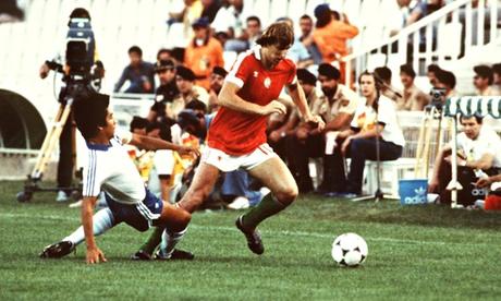 Even El Salvador's one superstar, Jorge Alberto 'El Mágico' González, left, cannot get close to Hungary's Gabor Poloskei.
