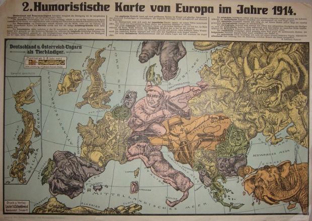 """Karl Lehmann-Dumont tarafından iki harita, 1914 yılında Dresden yayınlanan, hem hem """"Humoristische Karte von Europa im Jahre 1914 çağırdı."""